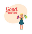 happy blond girl woman holding shopping bags vector image