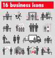 Sixteen business icons vector image