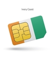 Ivory Coast mobile phone sim card with flag vector image