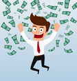 Businessman happy with money flowing in the air vector image
