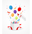 Colorful party icons and confetti vector image