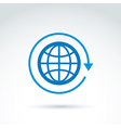 Blue globe with rotation and circulation icon vector image