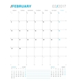 February 2017 Print Template Monthly vector image