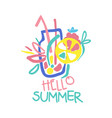 hello summer logo template colorful hand drawn vector image