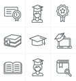 Line Icons Style Education icons set vector image