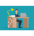 Office worker man behind a desktop creative color vector image