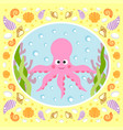 sea background card with octopus vector image