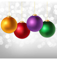Christmas Balls And Silver Bokeh vector image vector image