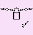 Padlock chain key vector image