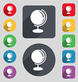 Globe icon sign A set of 12 colored buttons and a vector image