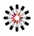 Circle of open tube of lipstick Lipstick of vector image