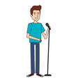 man singing with microphone vector image