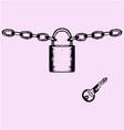Padlock chain key vector image