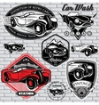 set of emblems with retro car on wall vector image