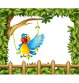 A parrot swinging the vine plant vector image