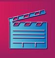 film clap board cinema sign  blue 3d vector image