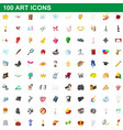 100 art icons set cartoon style vector image