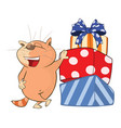 cute cat and gifts cartoon vector image