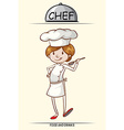 Female chef trying out the food vector image