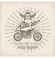 racer grunge vintage print with motorcycle wings vector image