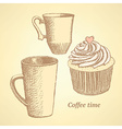 Sketch coffee set in vintage style vector image