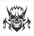 Skull tattoo and tribal design - isolated on white vector image