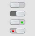toggle switch set on and off buttons vector image