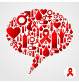 AIDS icons in communication bubble silhouette vector image