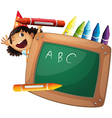 A little girl at the back of a chalkboard vector image vector image