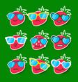 cartoon strawberry emojis with sunglasses vector image