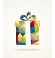 Christmas contemporary triangle gift box greeting vector image