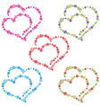 Two hearts composed of colorful flowers vector image vector image