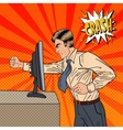 Angry Businessman Crashes Computer Pop Art vector image