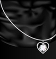 Black silk and jewel heart vector image