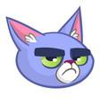 blue cat head cartoon vector image