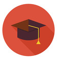 Flat Education Graduate Hat Circle Icon with Long vector image