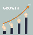 human hand and growth graph icon on vector image