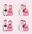 Muslim wedding couple cartoon vector image