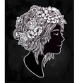 Beautiful art of a girl with flowers on her head vector image