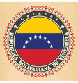 Vintage label cards of Venezuela flag vector image