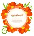 Orange flowers circle frame vector image vector image