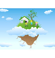 house on floating island vector image vector image
