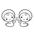black and white twins character sits aside signs vector image