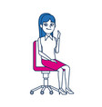 business woman sitting office chair people vector image