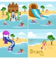 Children summer vacation Kids Playing sand around vector image