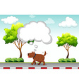 Dog walking on pavement alone vector image