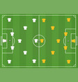 soccer field with players mock from top vector image