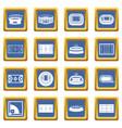 sport stadium icons set blue vector image