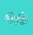 thin line flat design banner of learning web page vector image
