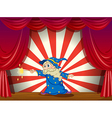A wizard with a wand in the middle of the stage vector image vector image